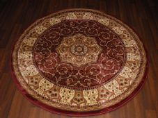 STUNNING 140CMX140CM CIRCLE RUG WOVEN&CARVED ROYAL RANGE TOP QUALITY BEIGE/RED